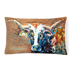 On The Loose Brown Cow Canvas Fabric Decorative Pillow