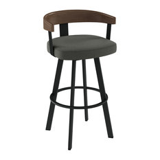Amisco Lars Swivel Stool, Black Metal/Grey Polyester, Counter Height
