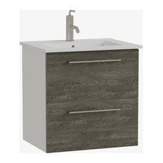 Maine 24-inch Bathroom Vanity Cabinet And Sink 24-inchx24-inchx18-inch Charred Oak Silver
