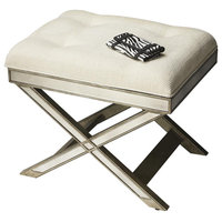 Butler Specialty Loft Mirrored Tufted Vanity Stool in Pewter