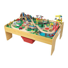 KidKraft 120 Piece Adventure Town Railway Train Table Set in Natural