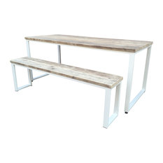 3-Piece Reclaimed Wood Dining Table Set, White, Large