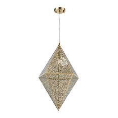 Modern Geometric 1-Light Rose Gold Finish Pendant