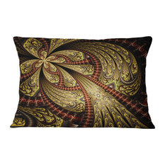 "Symmetrical Brown Red Fractal Flower Floral Throw Pillow, 12""x20"""