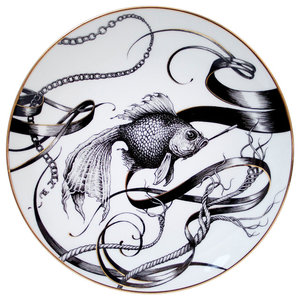 Gold Swirly Smoky Fish Plate, Small