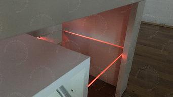 Modern TV Stand 200cm White Matt & White High Gloss Cabinet Unit RGB LED Lights