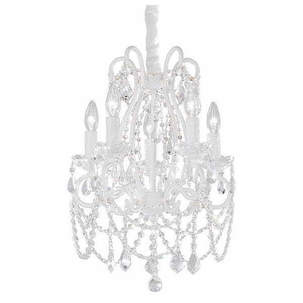 Charlotte White Chandelier, Pink Crystals, 3 Light