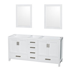 """Wyndham Collection 72"""" Sheffield White Double Vanity, No Countertop, No Sink"""