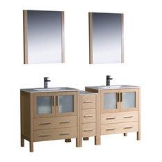 "Torino 72"" Light Oak Double Sink Bathroom Vanity, Side Cabinet, Integrated Sinks"