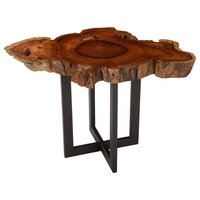 """34"""" L End Side Live Edge Table Rosewood Deep Red & Brown Wood Grain Pattern"""
