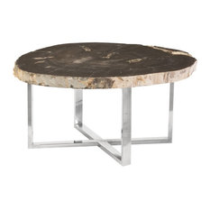 "36"" Coffee Table Solid Petrified Wood Stainless Steel Base Round Black Brown"