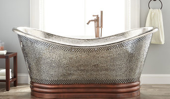 """71"""" ANASTASIA MOSAIC NICKEL-PLATED COPPER DOUBLE-SLIPPER TUB"""
