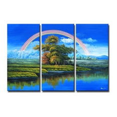"""Rainbow Over Paradise, Wall Tapestry, 40""""x60"""""""