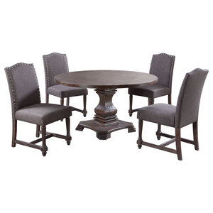Enjoyable Carey Antique Style Natural Oak Round Dining Set 5 Piece Pabps2019 Chair Design Images Pabps2019Com