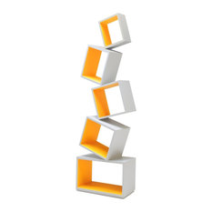 Malagana Design - Equilibrium Bookcase, Modern Light Collection, Neon Tangerine - Bookcases