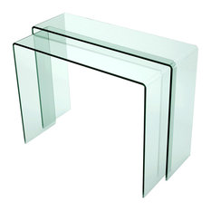 Chintaly Imports   Nested Bent Glass Sofa Table   Console Tables
