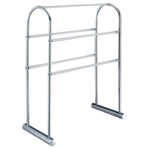"""Free Standing /""""Essence/"""" Towel Rail Stand with Oval Black Glass Base"""