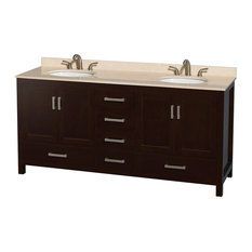 "Sheffield 72"" Espresso Double Vanity, Ivory Marble Top and Undermount Oval Sink"
