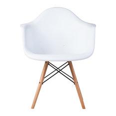 Midcentury Modern DAW Arm Chair, White