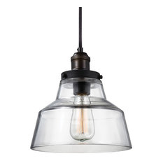Feiss 1-Light Pendant, Aged Brass / Dark Weathered Zinc