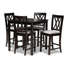 Reneau Gray Fabric Upholstered Espresso Browned 5-Piece Wood Pub Set