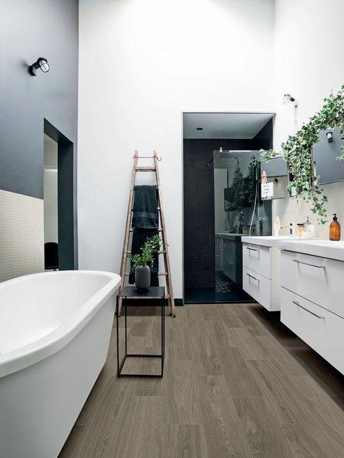 Stanza da bagno moderna con piastrelle beige foto idee for Piastrelle linoleum bagno