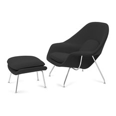 Knoll Womb Char and Ottoman, Gray Cato