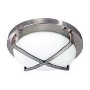 """Homeselects 16"""" 'X'-Light Flush Mount With Alabaster Glass Globe"""
