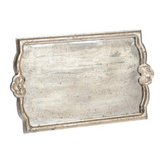 Vendome Tray With Antiqued Mirror, Silver Leaf, Large