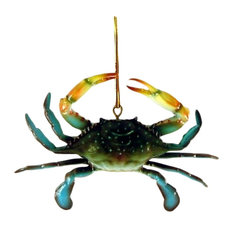 Charlotte International - 3D Coastal Maryland Blue Crab Tiki Bar Decor Ornament - Christmas Ornaments