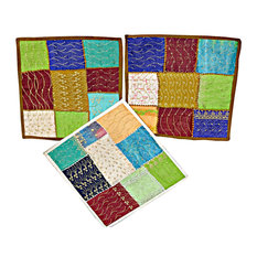 Mogul Interior - Pillow Cover Sari Pillow Cases Patchwork Embroidered Indian Cushion, Set of 3 - Pillowcases And Shams