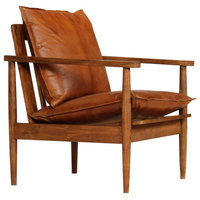 vidaXL Armchair Brown Real Leather with Acacia Wood Home Chair Seat Furniture