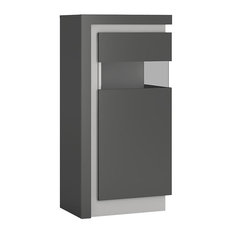Lyon Short Narrow Display Cabinet With LED Lighting, Grey, Right Opening Door