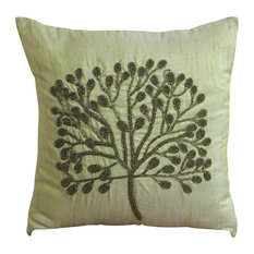 "Green Beaded Tree Green Art Silk 22""x22"" Pillow Covers Decorative, Green Tree"