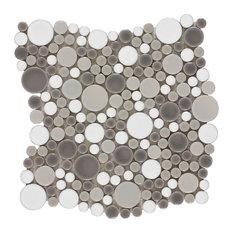 MTO0208 Contemporary Penny Round Bubbles Gray White Glazed Ceramic Mosaic Tile