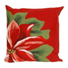 "Poinsettia Red Pillow - 20"" SQ"