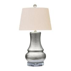 "Beautiful Silver Leaf Porcelain Vase Table Lamp, 23"""