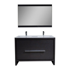 "Milan 48"" Double Vanity Set With Mirror, Silver Gray"