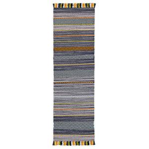 Inca Kelim Runner, Stripes Charcoal, 67x220 cm