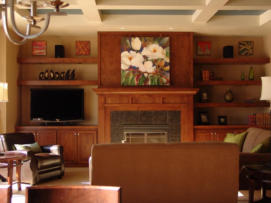 Midcentury Transitional Living Room Television Installation
