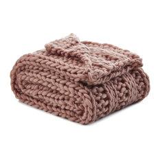 "Jamilah Channel Knit Throw, Blush, 50""x70"""