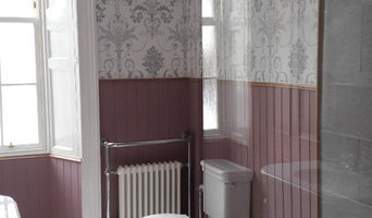 Large Bathroom with feature wallpaper