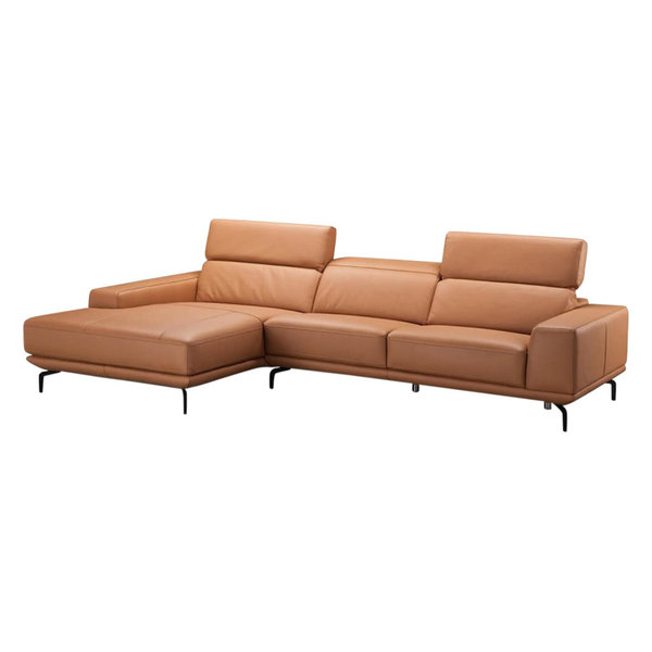 Lovely LIMA ITALIAN LEATHER SECTIONAL SOFA, PUMPKIN, LEFT FACING CHAISE
