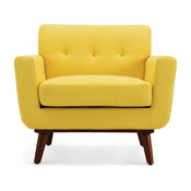 Isaiah Mid-Century Low-Back Accent Arm Chair, Yellow