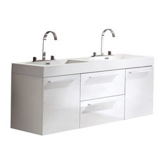 Fresca Opulento 54-inch White Modern Double Sink Cabinet Integrated Sinks