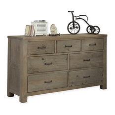 Crosspointe 7 Drawer Dresser, No Mirror, Driftwood Finish