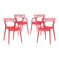 Modway - Entangled Dining Chairs, Set of 4, Red - Dining Chairs