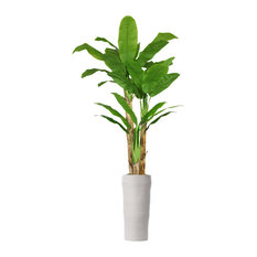 """93"""" Tall Banana Artificial Tree With Real Touch Leaves, Planter"""