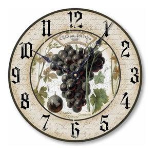 Vintage-Style Classic Wine Grapes Clock, 10.5 Inch Diameter, 10.5 Inch Diameter