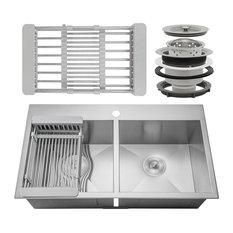 "AKDY 33""x22""x9"" Handmade Stainless Steel Top Mount Kitchen Sink 50/50 Basin"